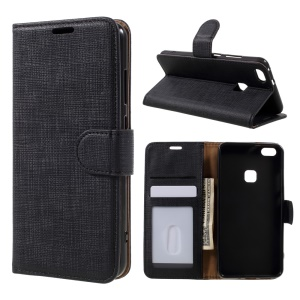Cloth Texture Leather Wallet Stand Case for Huawei P10 Lite - Black
