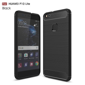 Carbon Fibre Brushed TPU Case for Huawei P10 Lite - Black