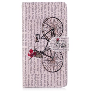 Printing Pattern Magnetic Leather Wallet Shell for Huawei P10 Lite - Bike with Flowers