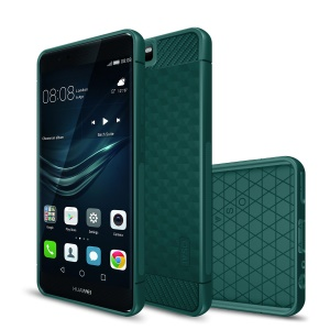 IVSO Carbon Fiber Geometric Hexagon Design Silicone Mobile Phone Shell for Huawei P10 - Green