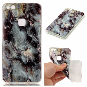 For Huawei P10 Lite Marble Pattern IMD TPU Shell Cover - Black Blue