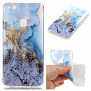 For Huawei P10 Lite IMD Marble Pattern TPU Mobile Cover - Baby Blue