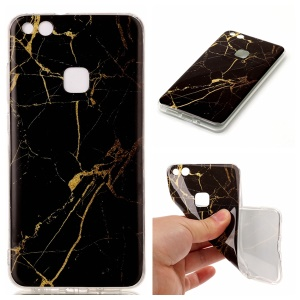 IMD Marble Pattern TPU Mobile Casing Cover for Huawei P10 Lite - Black / Gold