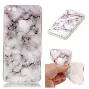 Marble Pattern TPU Phone Case Accessory for Huawei P10 Lite - White / Grey