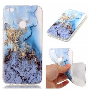 IMD Marble Pattern TPU Mobile Cover for Huawei P8 Lite (2017) / Honor 8 Lite - Baby Blue