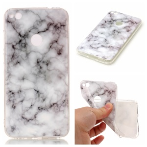 Marble Pattern TPU Phone Case Accessory for Huawei P8 Lite (2017) / Honor 8 Lite - White / Grey
