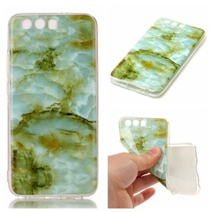 Marble Pattern IMD Soft TPU Jelly Case for Huawei P10 - Light Green