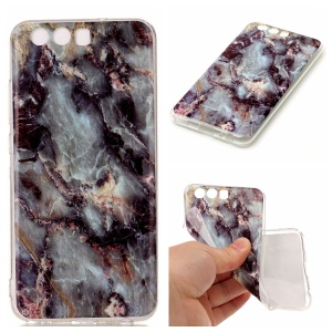 Marble Pattern IMD Flexible TPU Jelly Case for Huawei P10 - Black Blue