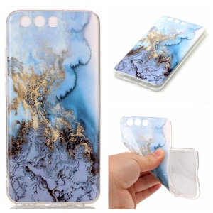 Marble Pattern IMD Soft TPU Back Case for Huawei P10 - Baby Blue