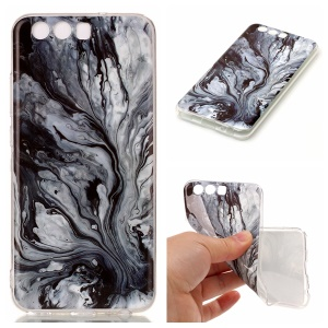 For Huawei P10 Marble Pattern IMD TPU Cell Phone Cover - Grey