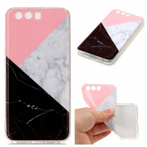 For Huawei P10 IMD Marble Pattern TPU Soft Mobile Cover - Pink / Grey / Black