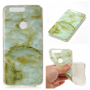 Marble Pattern IMD TPU Mobile Phone Case for Huawei Honor 8 - Light Green