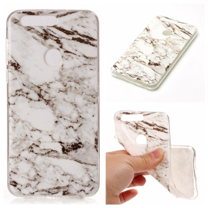IMD Marble Pattern TPU Back Case Cover for Huawei Honor 8 - White / Black