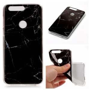 IMD Marble Pattern Soft TPU Phone Case for Huawei Honor 8 - Black