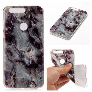Marble Pattern IMD TPU Shell Cover for Huawei Honor 8 - Black Blue