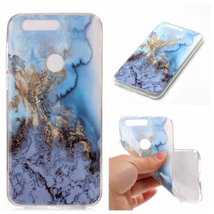 IMD Marble Pattern TPU Mobile Cover for Huawei Honor 8 - Baby Blue