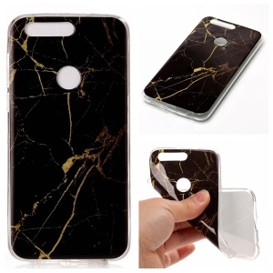 IMD Marble Pattern TPU Mobile Casing Cover for Huawei Honor 8 - Black / Gold
