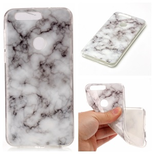 Marble Pattern TPU Phone Case Accessory for Huawei Honor 8 - White / Grey