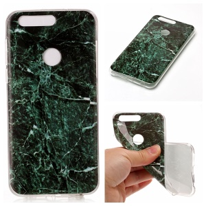 Marble Pattern TPU Case IMD Cover for Huawei Honor 8 - Dark Green