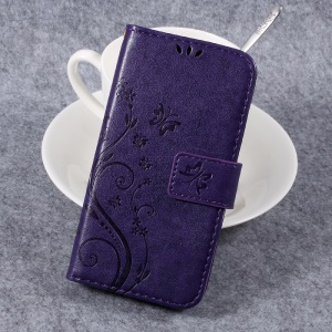 Butterfly Flower Imprinted Leather Card Slots Stand Cover for Huawei Y3II / Y3 II - Purple
