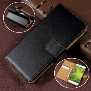 Wallet Stand Split Leather Phone Case Cover for Huawei P10 - Black
