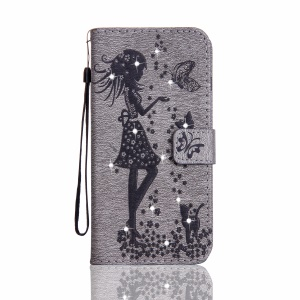 Imprinted Fairy and Butterfly Rhinestone Leather Wallet Case for Huawei Y6 II/Y6II/Honor 5A - Grey