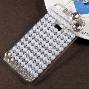 Bowknot Rhinestone Pearl Clear Plastic Shell for Huawei P8 Lite (2017) / Honor 8 Lite - Transparent