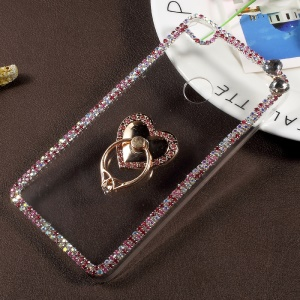 Rhinestone Decorated Ring Stand Clear Plastic Case for Huawei P8 Lite (2017) / Honor 8 Lite - Heart Shape
