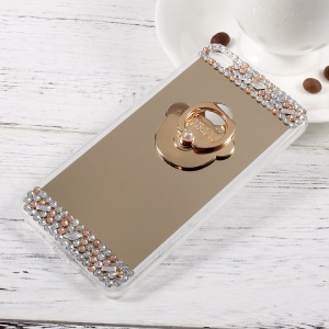 Rhinestone Ring Kickstand Plated Mirror-like Acrylic TPU Back Case for Huawei P8 Lite (2017) / Honor 8 Lite - Gold