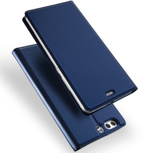 DUX DUCIS Skin Pro Series Leather Phone Case with Card Slot for Huawei P10 - Dark Blue