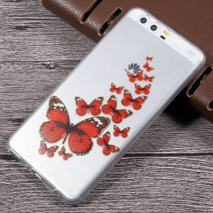 Per Huawei P10 Plus Patterned TPU Ultra-sottile Clear Case - Red Butterflies