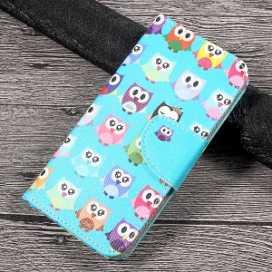 Patterned PU Leather Card Slots Case for Huawei P10 Lite - Adorable Owls