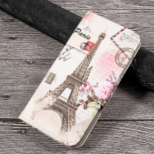 Printing Pattern Leather Wallet Mobile Cover for Huawei P10 Lite - Postcard Style Eiffel Tower