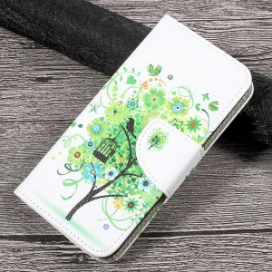 Patterned Leather Stand Wallet Case for Huawei P10 Lite - Green Flowers Tree and Bird