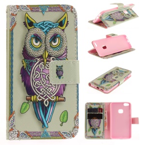 Patterned Wallet Leather Mobile Case Stand for Huawei P10 Lite - Tiger with Green Eye