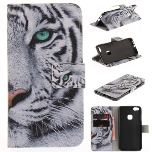 Printing Pattern Leather Wallet Mobile Casing for Huawei P10 Lite - Tiger with Green Eye