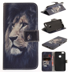 For Huawei P10 Lite Patterned Leather Wallet Stand Case Mobile Accessory - Lion