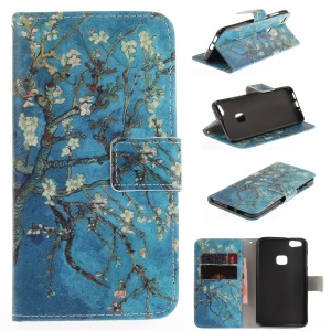 Patterned PU Leather Case with Wallet Slots for Huawei P10 Lite - Almond Tree in Blossom