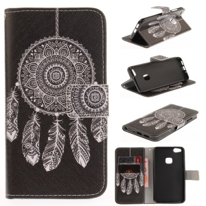 Patterned Leather Wallet Mobile Phone Cover for Huawei P10 Lite - Tribal Dreamcatcher