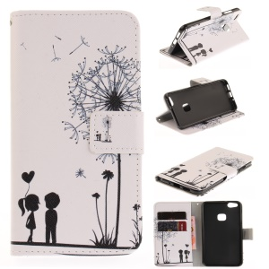 Printing Pattern Folio Flip Leather Case Accessory for Huawei P10 Lite - Dandelion and Lovers