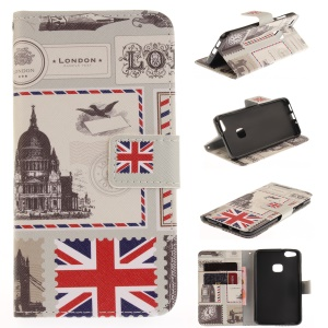 Magnetic Leather Wallet Patterned Case for Huawei P10 Lite - London Elements