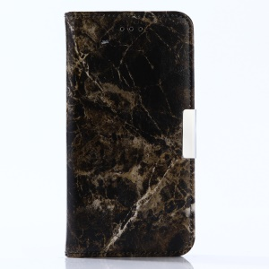 For Huawei P10 Lite Marble Pattern Wallet Stand Leather Phone Case - Black