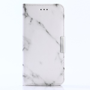 For Huawei P10 Lite Marble Pattern Stand Leather Wallet Cover Case - White