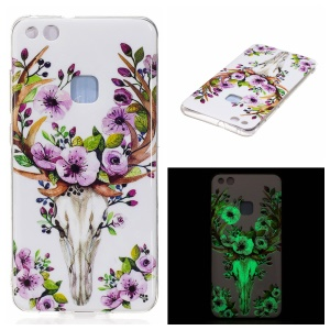 Noctilucent IMD Soft TPU Back Case for Huawei P10 Lite - Flowered Elk