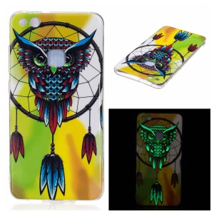 Noctilucent IMD Soft TPU Cell Phone Case for Huawei P10 Lite - Owl Dream Catcher
