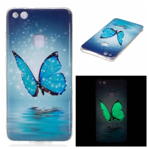 Noctilucent IMD Soft TPU Gel Cover for Huawei P10 Lite - Blue Butterflies