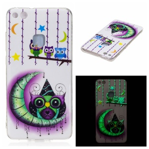 Noctilucent IMD Soft TPU Case Accessory for Huawei P10 Lite - Owls, Moon and Stars