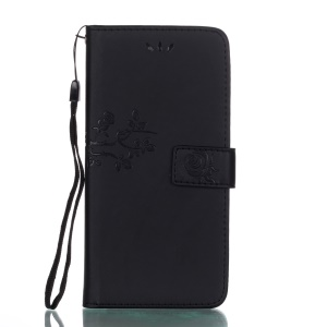 Imprinted Roses Wallet Leather Cell Phone Case for Huawei Mate 9 Pro - Black