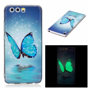Noctilucent IMD Soft TPU Cover Case for Huawei P10 Lite - Blue Butterfly