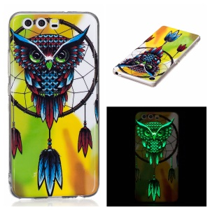 Noctilucent IMD Soft TPU Shell Cover for Huawei P10 Lite - Owl Dream Catcher